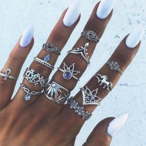 Retro Style Rhinestone Inlaid Alloy Ring Set 13 pcs/Set