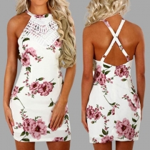 Sexy Crossover Backless Lace Spliced Slim Fit Printed Dress