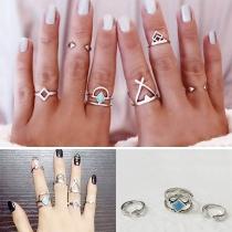 Simple Style Alloy Ring Set 6 pcs/Set