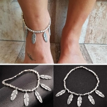 Ethnic Style Feather Pendant Alloy Anklet