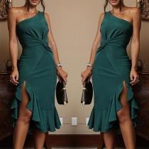 Sexy One-shoulder Irregular Ruffle Hem Solid Color Dress