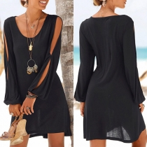Sexy Slit Long Sleeve Round Neck Solid Color Loose Dress