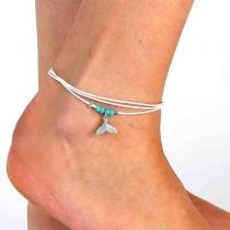 Bohemian Style Fishtail Pendant Beaded Anklet
