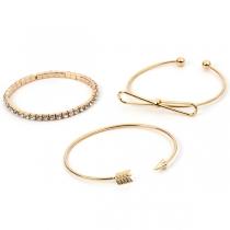 Fashion Rhinestone Inlaid Bowknot Arrow Bracelet Set 3 pcs/Set