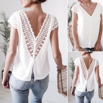 Sexy Backless V-neck Lace Spliced Short Sleeve Top