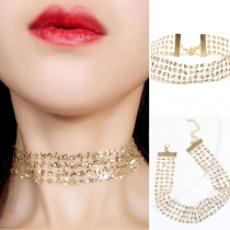 Fashion Sequin Spliced Lace Choker Necklace