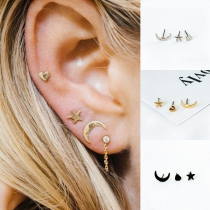 Fashion Heart Crescent Shaped Stud Earring Set 3 pcs/Set
