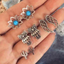 Bohemian Style Flower/Owl/Wing Shaped Stud Earring Set 4 pair/Set