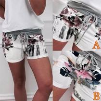 Fashion High Waist Printed Shorts
