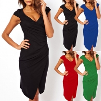 Elegant Solid Color Short Sleeve V-neck Slit Hem Dress