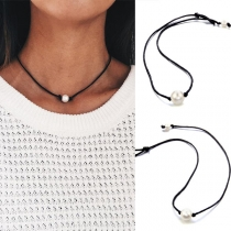Simple Style Peal Pendant Choker Necklace