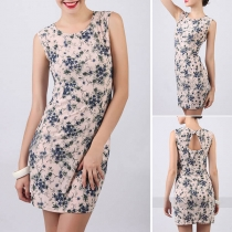 Sexy Backless Sleeveless Round Neck Slim Fit Printed Dress