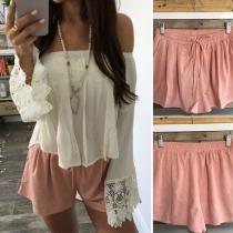 Fashion Solid Color Elastic Waist Casual Shorts