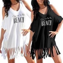 Sexy Off-shoulder Short Sleeve Letters Printed Tassel Hem Beach Dress