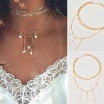 Fashion Gold-tone Pentagram Pendant Multi-layer Necklace