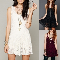 Fashion Solid Color Sleeveless Round Neck Lace Dress