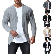 Fashion Solid Color Long Sleeve Men's Knit Cardigan