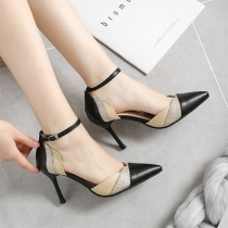 Fashion Conntrast Color Pointed Toe High-heeled Stilettos
