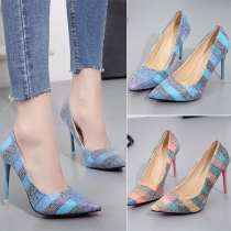 Fashion Pointed Toe High-heeled Plaid Stilettos