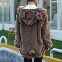 Cute Style Solid Color Long Sleeve Hooded Cartoon Plush Coat