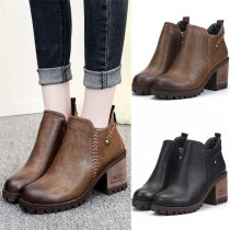 Retro Style Thick High-heeled Side-zipper Martin Boots Booties