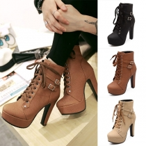 Fashion High-heeled Round Toe Lace-up Martin Boots Booties
