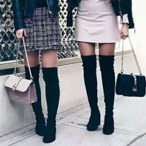 Fashion Solid Color Thick High-heeled Over-the-knee Boots