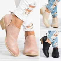 Fashion Flat Heel Pointed Toe Slip-on Ankle Boots Booties