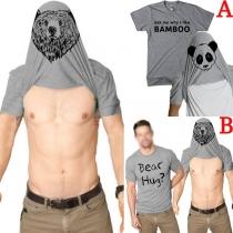 Fashion Printed Short Sleeve Round Neck Men's T-shirt