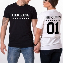 Fashion Short Sleeve Round Neck Letters Printed Couple T-shirt