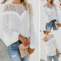 Sexy Hollow Out Lace Spliced Long Sleeve Ruffle Ruffle Blouse