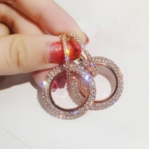 Fashion Rhinestone Inlaid Circle-shaped Earrings