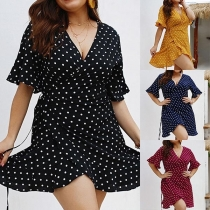 Sexy V-neck Short Sleeve Dots Printed Oversized Dress
