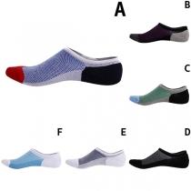 Fashion Contrast Color Breathable Men's Ankle Socks