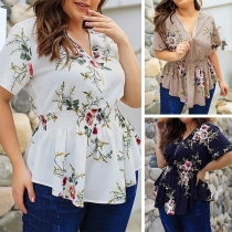 Fashion Short Sleeve V-neck Elastic Waist Oversized Printed Top