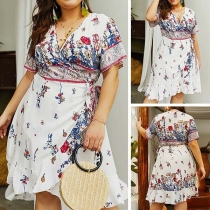 Fashion Short Sleeve V-neck Irregular Hem Oversized Printed Dress