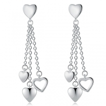 Fashion Heart Pendant Tassel Earrings