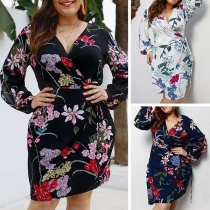 Sexy V-Neck Long Sleeve Oversized Plus-size Printed Dress