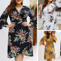 Sexy V-neck Slit Hem Oversized Plus-size Printed Dress