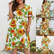 Fashion Short Sleeve V-neck Oversized Plus-size Printed Dress