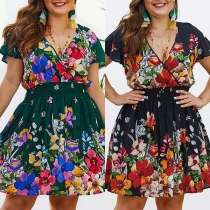 Sexy V-neck Short Sleeve High Waist Oversized Plus-size Dress