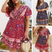 Sexy V-neck Short Sleeve Oversized Plus-size Printed Dress
