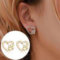 Sweet Style Heart Shaped Stud Earrings