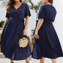 Sexy V-neck Short Sleeve Solid Color Oversized Plus-size Dress