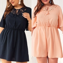 Fashion Short Sleeve Lace Spliced Round Neck Oversized Plus-size Dress