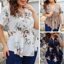 Fashion Short Sleeve V-neck Printed Oversized Plus-size Printed Top