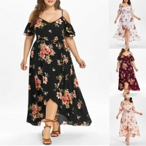 Sexy Off-shoulder V-neck Slit Hem Oversized Plus-size Sling Printed Dress