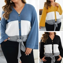 Fashion Contrast Color Trumpet Sleeve Oversized Plus-size Knit Cardigan