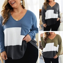 Fashion Contrast Color Long Sleeve V-neck Oversized Plus-size Knit Top