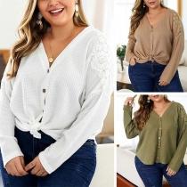 Fashion Lace Spliced Long Sleeve Plus-size Knit Cardigan